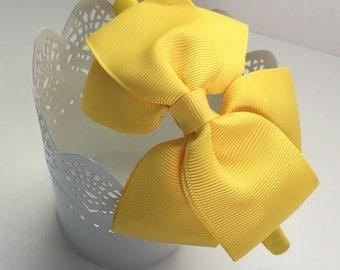 Yellow,Grosgrain,Toddler Headband,Girls Headband,Baby,Bow,Grosgrain, Hair Bows,Big Bow Headbands