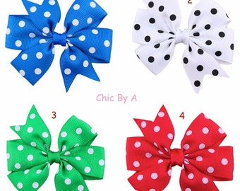 Hair Bow with Dots,Dots,Pink,Blue,Purple,Yellow,Green,White,Hair Bows,Baby,Kids,Girl,Toddler,Headbands,Girl Bows,Hair Bow,Ribbon Bow, 3""