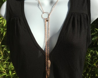 Rose Gold-plated Rose Gold Lariat Necklace