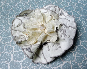 Large lace brooch made from vintage doilies