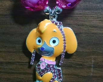 Paw Patrol Skye Inspired Toddler Bubblegum Necklace.  Paw Patrol favorite.  Rhinestone Pendant Gumball Necklace