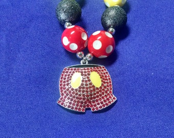 Mickey Mouse Inspired Mickey Pants Toddler Bubblegum Necklace.  Mickey Mouse Pants Pendant Gumball Necklace