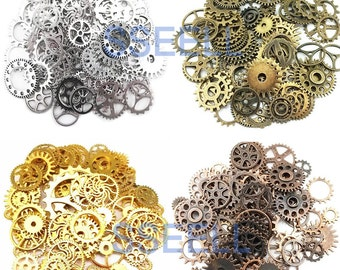 Silver Gold Bronze Copper Vintage Clock Watch Parts Steam Punk Gears Cog Parts for Altered Art Charms Clock Connectors Pendants Wholesale