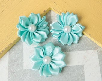 Aqua flower, mint flower supplies, craft supplies, small flower, DIY flower, headband supplies, petite satin flower, small ribbon flower
