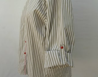Classic Koret City Blues grey and white striped roll sleeve shirt with red trim and buttons