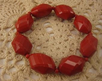 Vintage Bracelet, Vintage Jewelry, Faceted Beads, Red Beaded, Red Bracelet, Stretch Bracelet, Red Stretch, Stretchy Bracelet, Red Stretchy