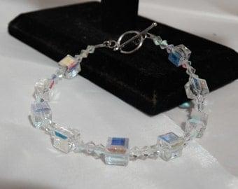 Clear Aurora Borialis Swarovski Crystal Bracelet