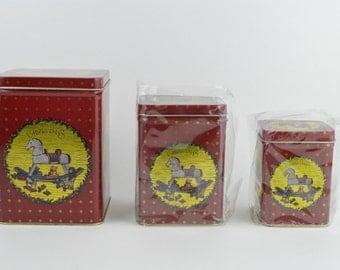 Vintage Christmas Matryoshka Style Tin Set, 3 Tins