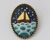 Star Sailing Necklace. Lovely Vintage Hand Painted Cameo Brooch/Necklace Pendant Polymer Clay Jewelry Nickel Free Antique Bronze