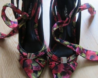 Gorgeous Karen Millen Floral Peep Toe Sandals UK Size 5