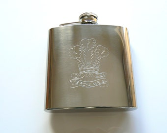 The Royal Welsh stainless steel Hip Flask