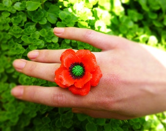 Flower ring Poppy ring Red ring Handmade flowers jewelry Floral ring Unique ring Beautiful ring Red flower ring Gift to her Bridesmaid