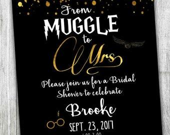 Custom Harry Potter Bridal Shower Invitation - Muggle to Mrs - Bridal Shower - Wedding Shower - Harry Potter Theme - Black and Gold