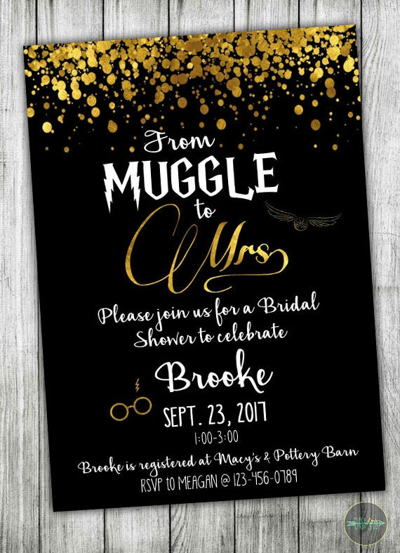 Custom Harry Potter Bridal Shower Invitation Muggle to Mrs