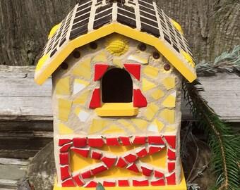 mosaic birdhouse, birdhouse, garden decor, garden art, decorative birdhouses, decorative bird houses, mother's day gift, rustic birdhouse