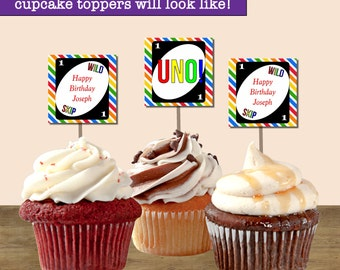 UNO Birthday Cupcake Toppers, UNO Party Cupcake Toppers; First Birthday Cupcake Toppers