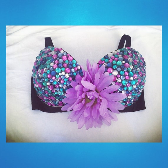 Pink Blue Purple Teal Multi-Colored Beddazzled Daisy Flower Child Rave Bra