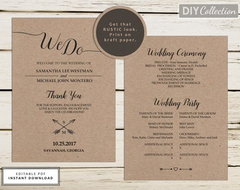 Rustic Wedding Program Template, Wedding Programs Instant Download - Editable Template - Wedding Stationery - Double-Sided Program #GD_WP105