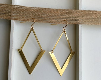 Brass Triangle Geometric Gold Color Earrings