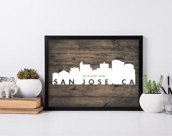 San Jose City Art, coordinate art, house warming, newly weds, tourist, travel, traveler, gift, home decor, print, poster