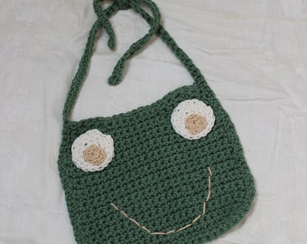 Handmade Crochet Frog Bib