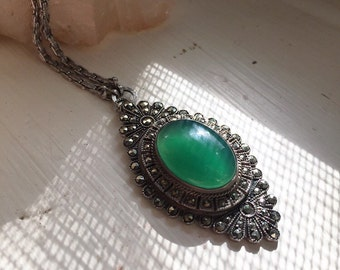 Marcasite and chrysoprase necklace.