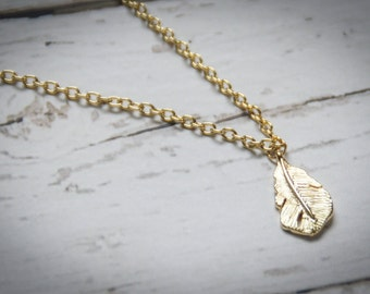 Golden Feather Layering Necklace