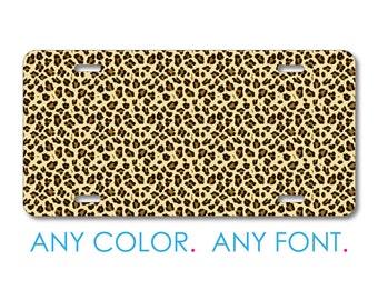Custom License Plate - Personalized Monogram  - Aluminum Full Color Vanity Front Plate - Black Beige Tan Leopard Skin Spots