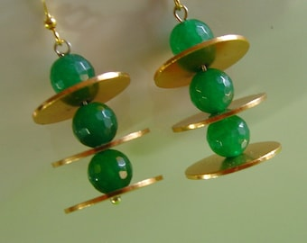 Very funny long earrings - with green agate