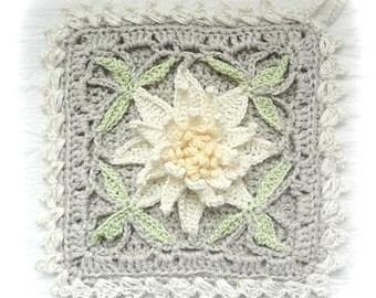 Potholder, Water Lily Cottage Potholder, Crocheted Floral Potholders, Square Crochet Potholder, Shabby Chic Decor Potholder