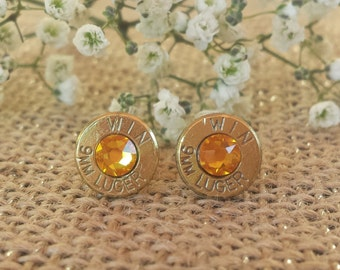 Sunflower 9mm Winchester Bullet Stud Earrings