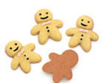 4 x gingerbread man flat back cabochon gw45