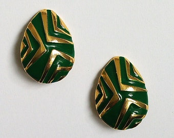 Green and gold earrings to clip 80s