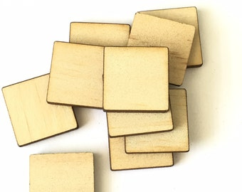 10 Laser Cut Quality 3mm Plywood Squares with Rounded Edges 20x20mm
