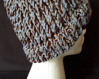 Brown, Blue, and Grey Beanie