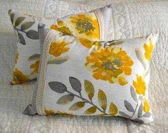 Set of 2 Yellow & Grey Decorative Pillows