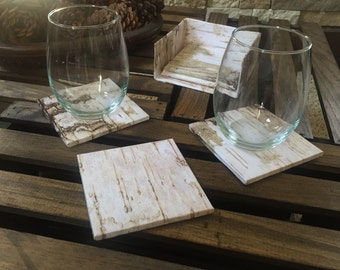 5 Birch tile coasters with holder