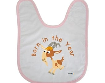 Funny Baby Bib Baby Shower Novelty Gift Born in the Year of the Goat 2015