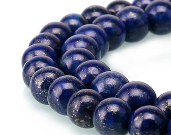 Smooth Round Well Polish Lapis Lazuli Gemstone Loose Beads 15.5 Inch per Strand, Size 3mm/4mm/ 6mm/8mm/10mm/12mm.R-S-LAP-0175