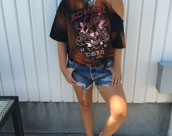 Vintage Ed Hardy one shoulder cut-out tee