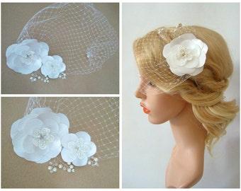 Wedding Birdcage Veil, Detachable Bridal Veil, Satin Flowers Bird Cage Veil, Wedding Fascinator Wedding Veil Hair Clip - Thalia