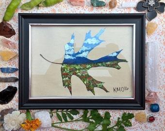 Fly over state scene leaf art