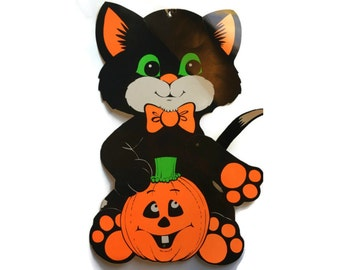 vintage halloween decor articulated card black cat decor vintage halloween decorations jack o - Halloween Cat Decorations