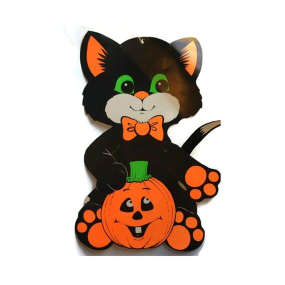 Vintage Halloween Decor Articulated Card Black Cat Decor