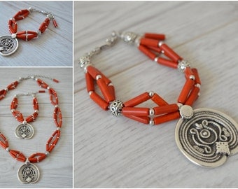 Red beaded statement bracelet, Greek inspired Silver Coin Bracelet, Boho bohemian statement coral jewelry, antique silver greek jewelry
