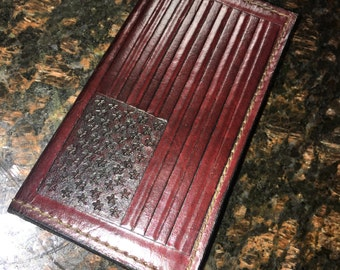 American Flag Leather Checkbook Cover