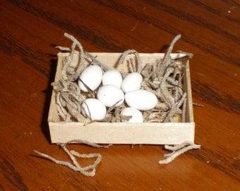 Chicken Nesting Boxes And Eggs, Miniature, Fairy Garden, Dollhouse, Farm, Hen House