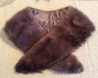 Vintage brown fur collar otter skin or mink