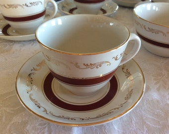 Vintage Ridgway fine china Bordeaux White Mist cup and saucer