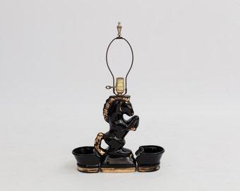 Hollywood Regency Black and Gold Ceramic Horse Lamp